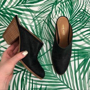 Nine West Hannah Black Leather Heeled Mules 8